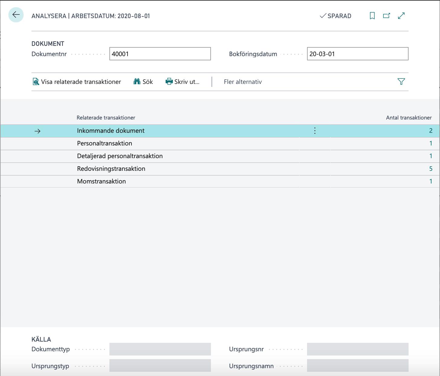 Analysera med koppling till Inkommande dokument i Dynamics 365 Business Central