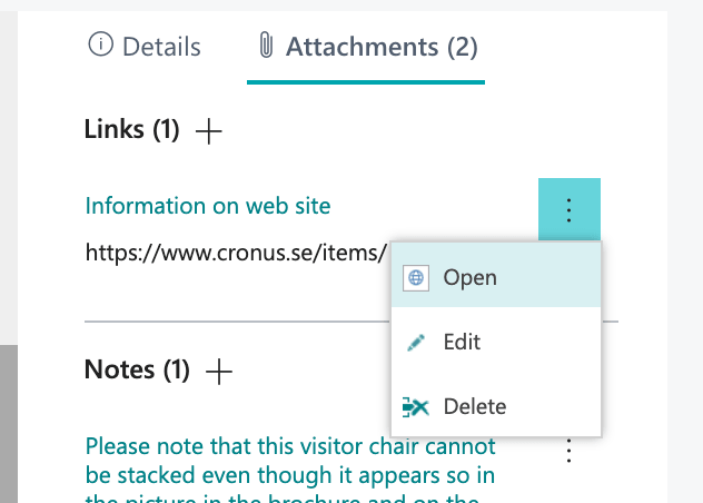 Open, edit och delete a link from an item in Business Central