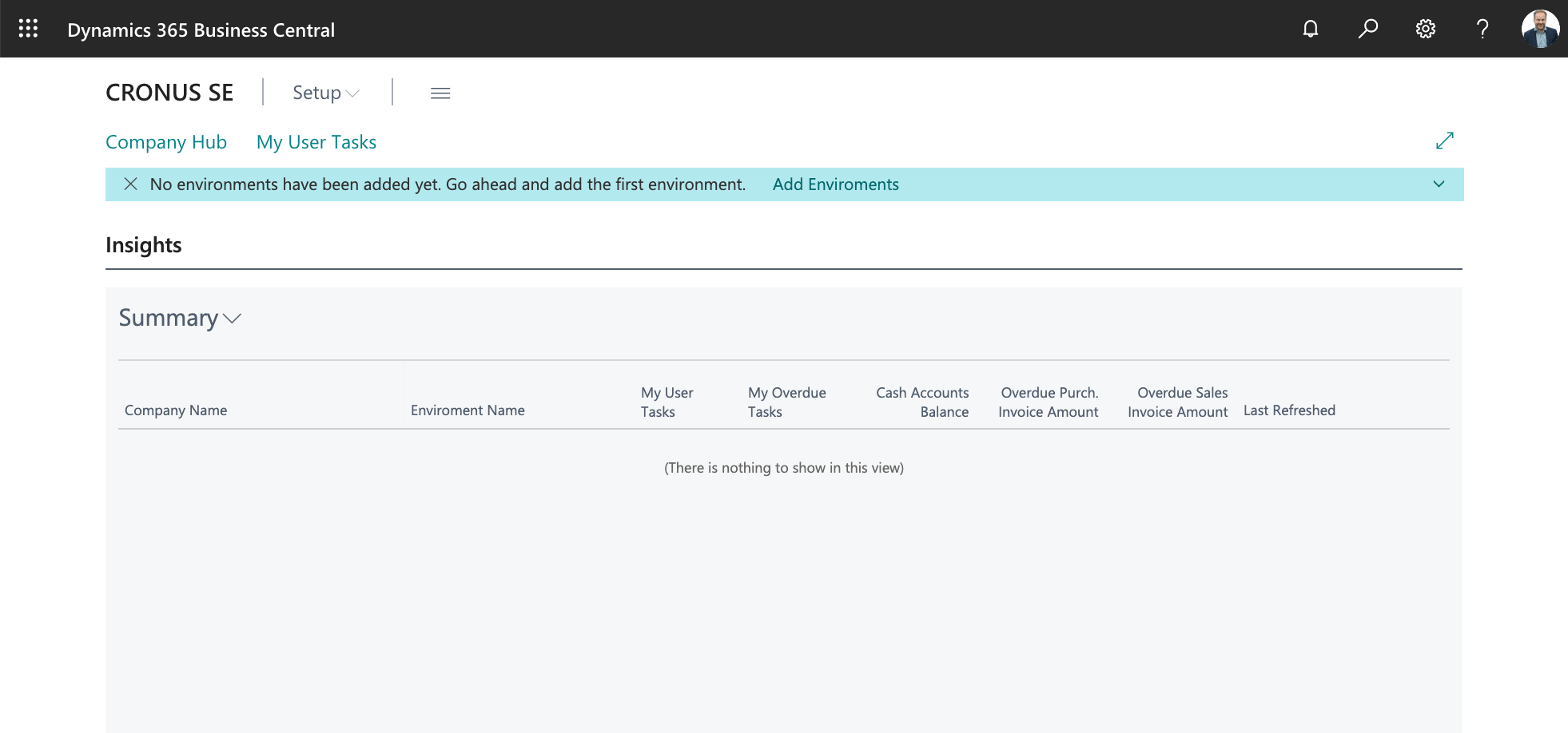 Empty list of companies in Company Hub in Business Central