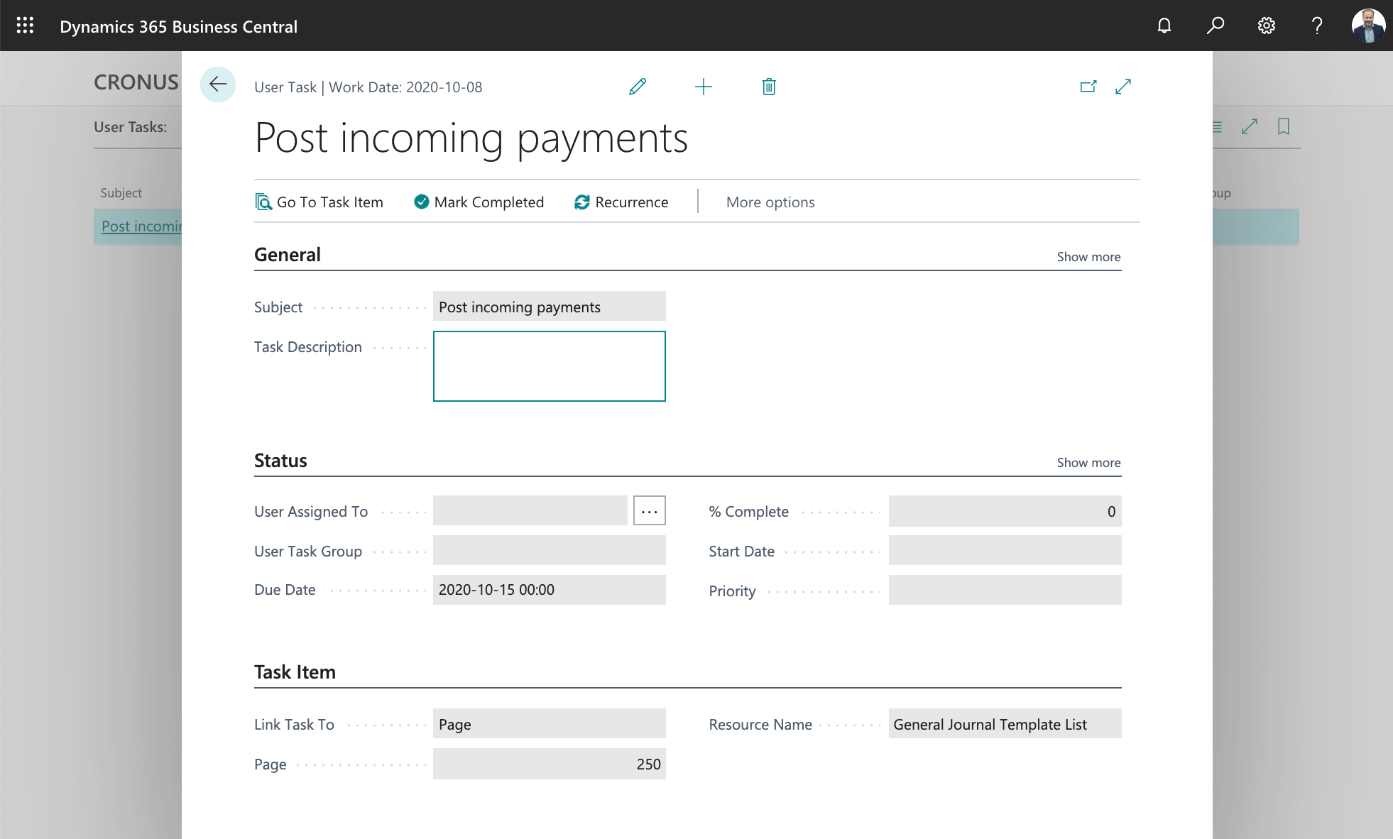User Task in Business Central