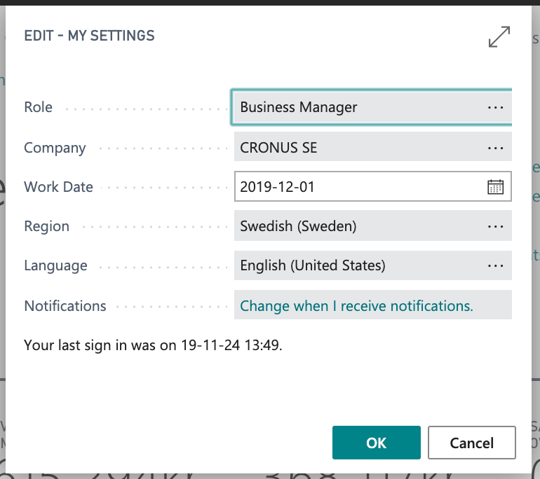 My Settings in Dynamics 365 Business Central