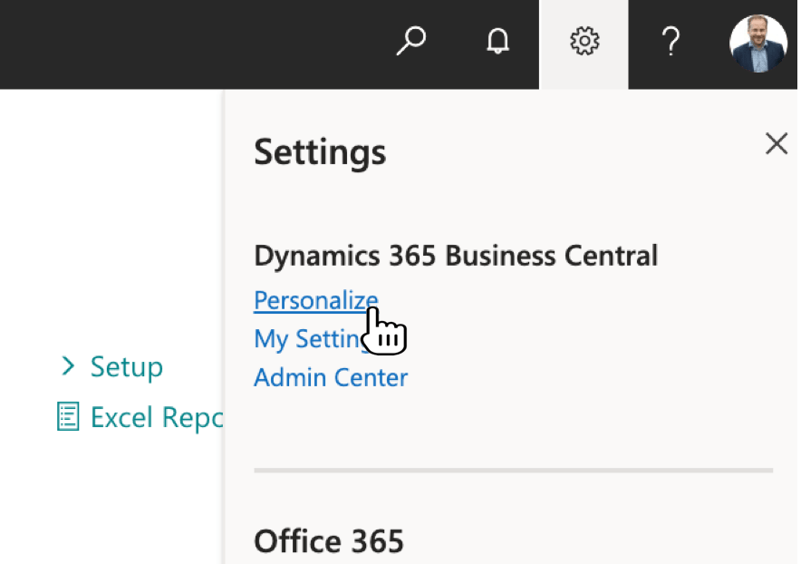 Select the function Personalizein Dynamics 365 Business Central