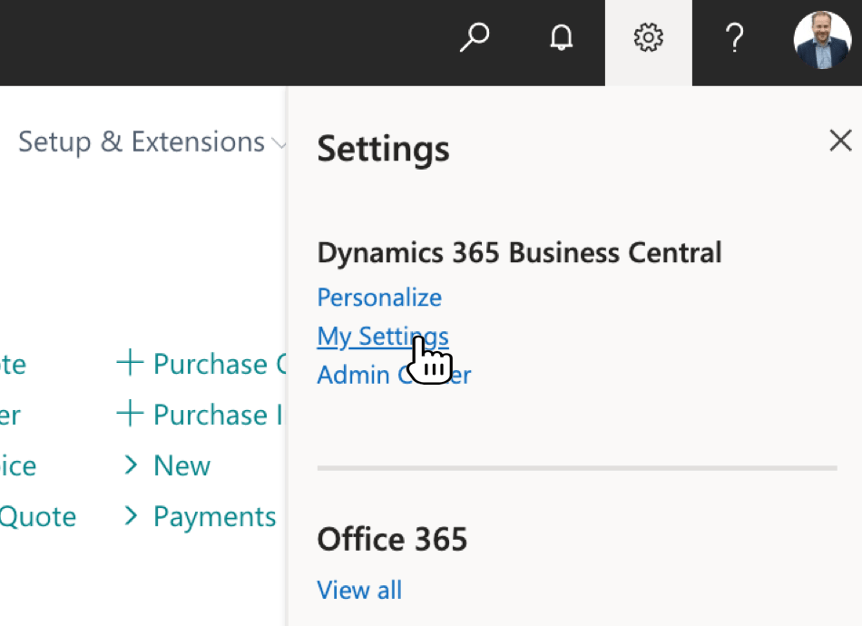 Select My Settings in Dynamics 365 Business Central