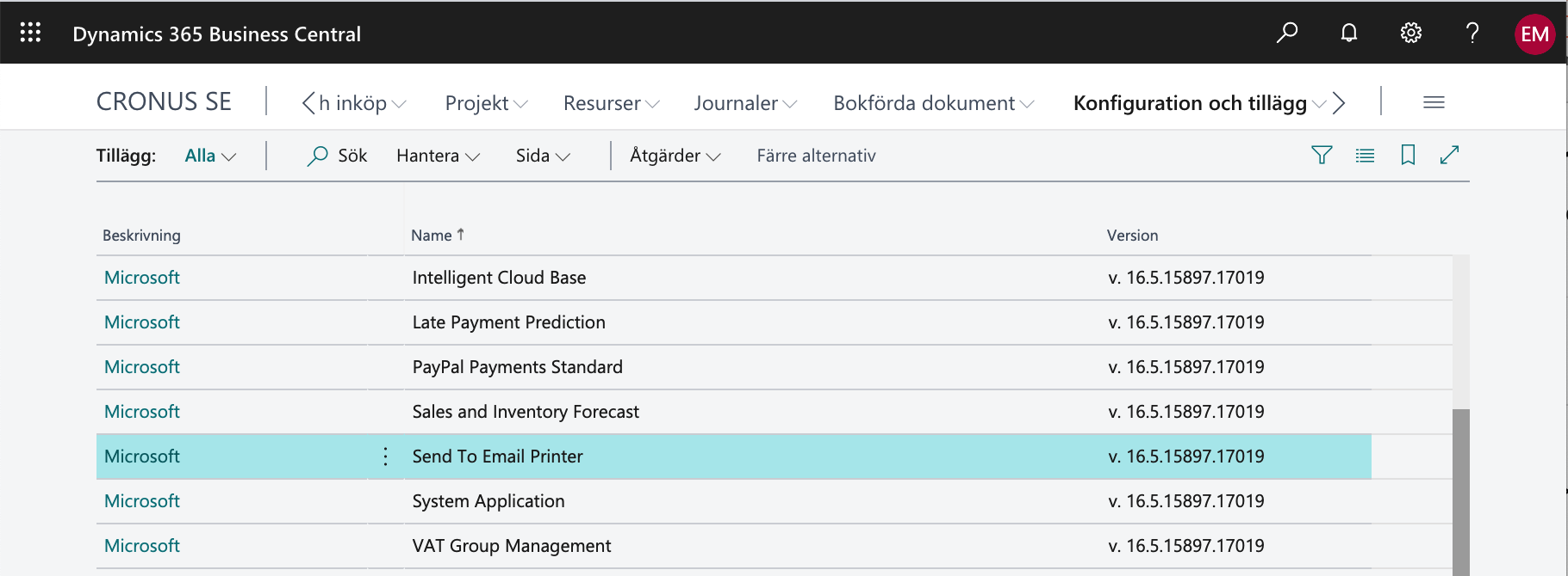Aktivera tillägget Send to email printer i Business Central